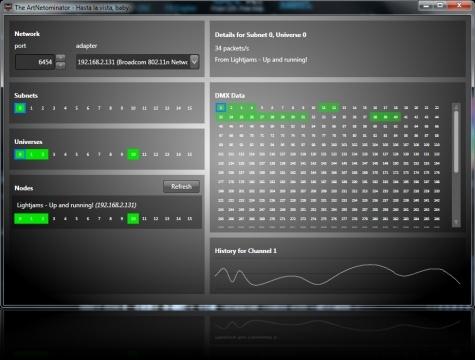 The ArtNetominator Free ArtNet DMX Monitoring and
