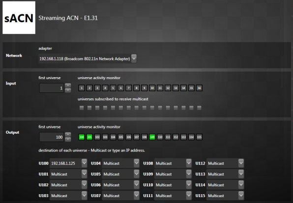 Streaming ACN - sACN E1.31 Configuration