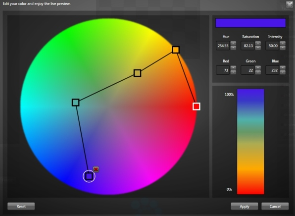 Edit your colors using the HSL or RGB color model