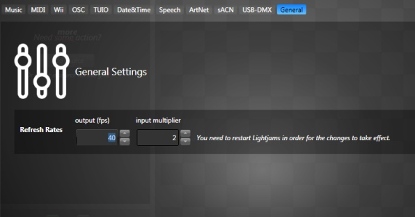 General settings with output and dmx refresh rate