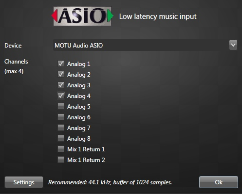 ASIO music with the Motu 8pre