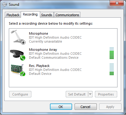 Enabling sound loopback, stereo mix or playback