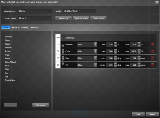 The fixture template editor interface
