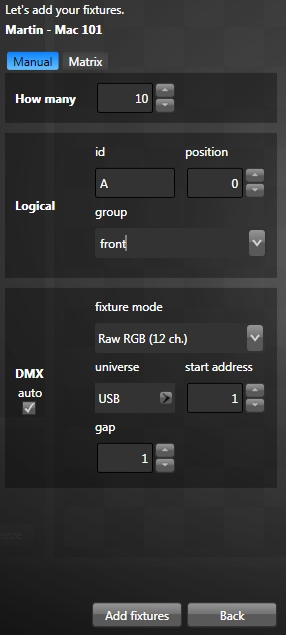 Prepare to add new fixtures to your patch. Set default DMX universe and address.